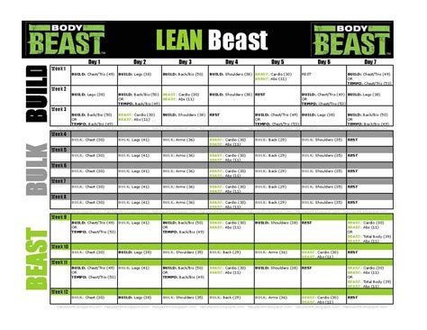 beast workout sheet workout schedule for beast s lean beast for those