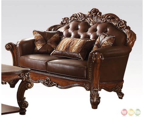 sofas with wood accents vendome oversized formal sofa loveseat set in brown