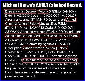 Michael Brown Criminal Record Missouri The Michael Brown S Family Of Gangsta S And The Rest Of The Story The