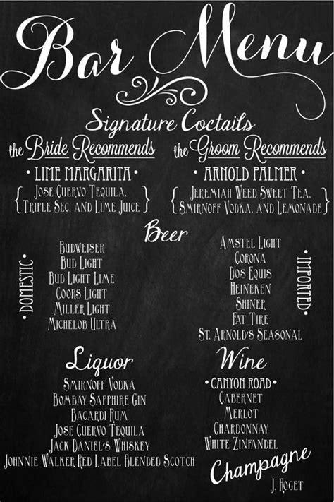 custom wedding chalkboard sign full bar drink menu 24