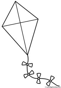 coloring page kite kite with bows coloring page