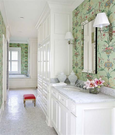 pinterest wallpaper for bathrooms classic white bathroom with mint green and pink wallpaper