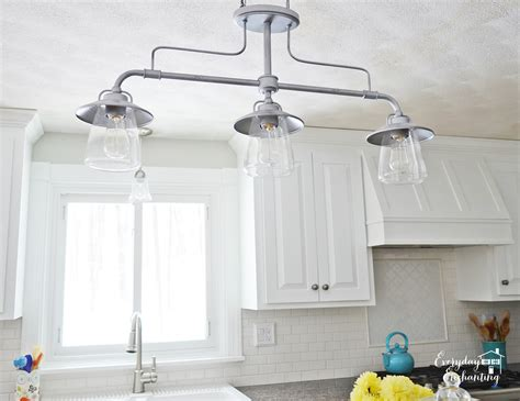 Remodelaholic White Kitchen Overhaul With Diy Marble Island Lights Fixtures Kitchen