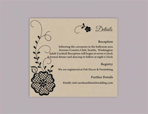 Detaild Wedding Card Template by Diy Lace Wedding Details Card Template Editable Word File