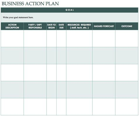 free action plan templates smartsheet