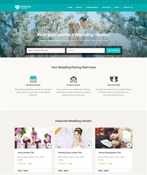 100 Best Wedding Website Templates Free Premium Freshdesignweb Vendor Website Template