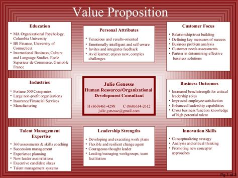 Unique Value Proposition Resume by Resume With Value Proposition