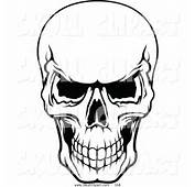 Vector Clip Art Of A Frightening Black And White Evil Human Skull