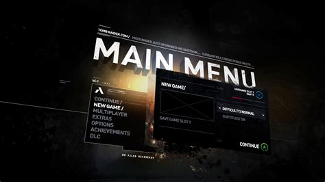 design game menu tomb raider ui identity design on behance