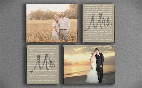 wedding vows on canvas wedding vow mr and mrs with two photos printed