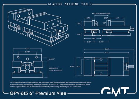 Plan Drawing Online glacern machine tools gpv 615 premium vise