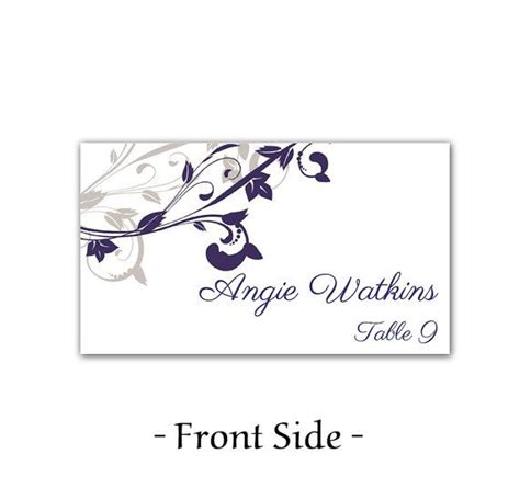 table name card template wedding place card template printable card template navy silver quot whimsical vines quot diy