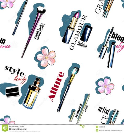 wallpaper design tool color seamless makeup tools pattern stock illustration