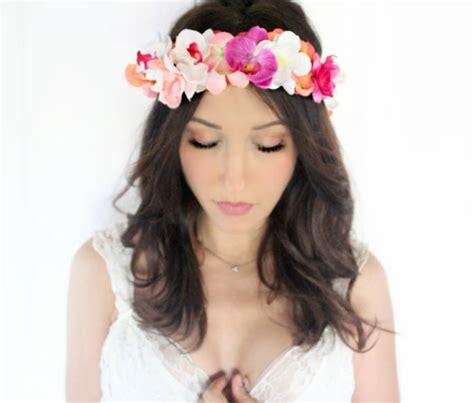 diy tiara di fiori makeup tropical flower crown orchids wedding headpiece bridal