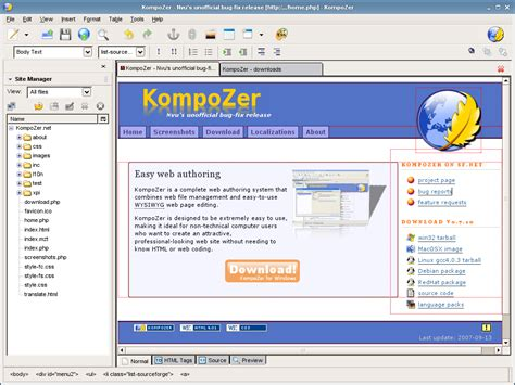 website layout en francais kompozer un tr 232 s bon logiciel de cr 233 ation de site web