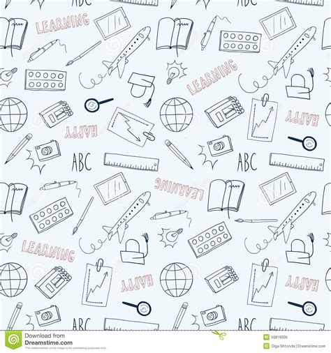 doodle learning happy learning doodle seamless pattern stock vector