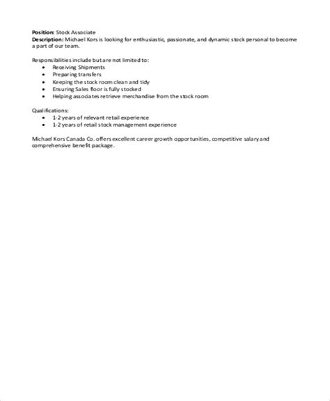 stock associate description sle 4 exles in