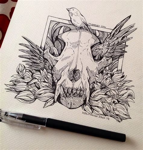 wolf skull tattoo wolf skull wing by wolfskulljack on deviantart