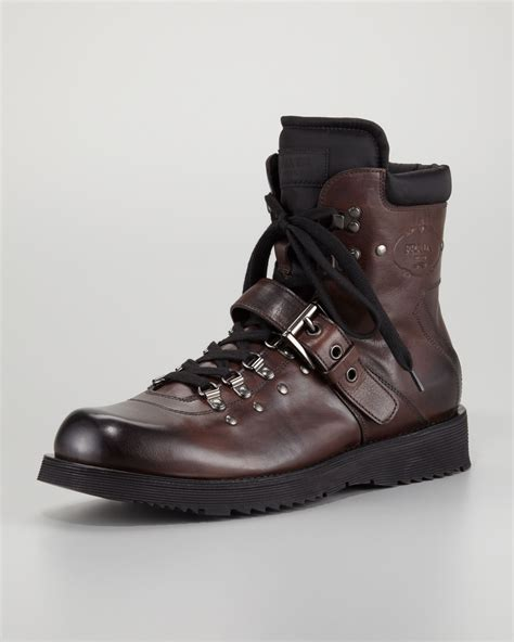 prada hiker boot brown in brown for lyst