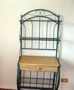 Wood Bakers Rack With Hutch Kitchen Iron Bakers Hutch Wine Rack Cart Wood Shelf Green