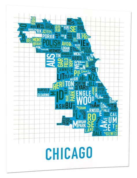 chicago map chicago neighborhood map 22 quot x 28 quot multi color screenprint