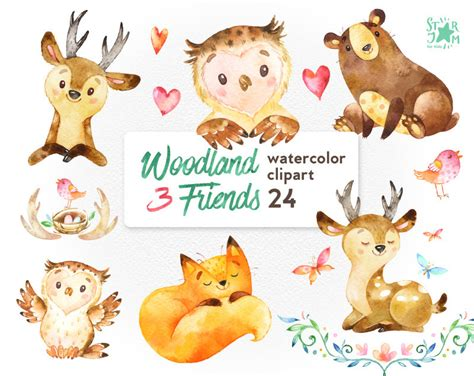Wolf Home Decor by Woodland Friends 3 Watercolor Animals Clipart Fox Forest