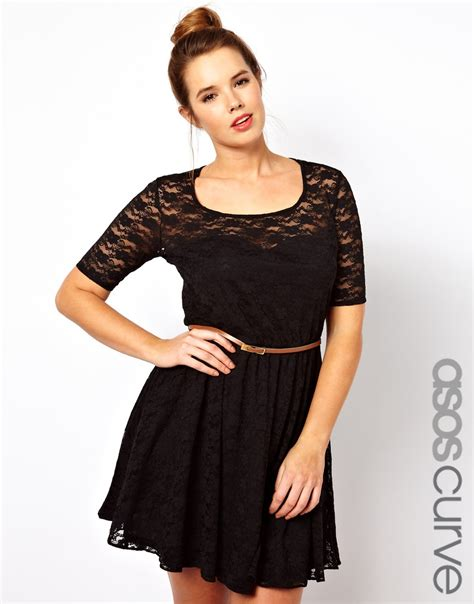 asos curve lace skater dress with belt and 34 sleeve in