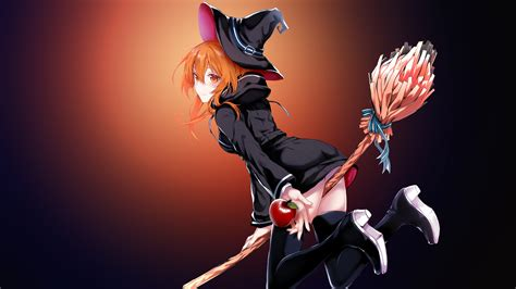 wallpaper anime girl witch magic 4k anime 4928