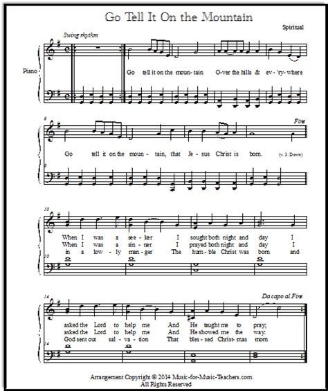 back number christmas song full easy christmas songs for piano go tell it on the mountain