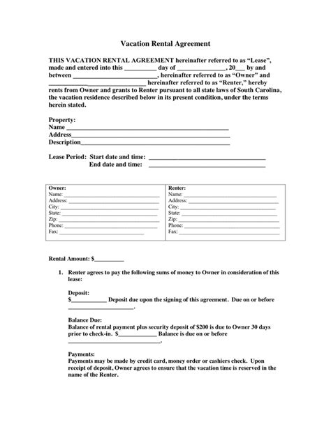 vacation rental agreement in word and pdf formats