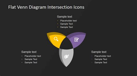 powerpoint venn diagram intersection flat venn diagram intersection icons slidemodel