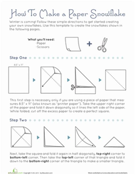 How Do U Make A Paper Snowflake - how to make snowflakes worksheet education