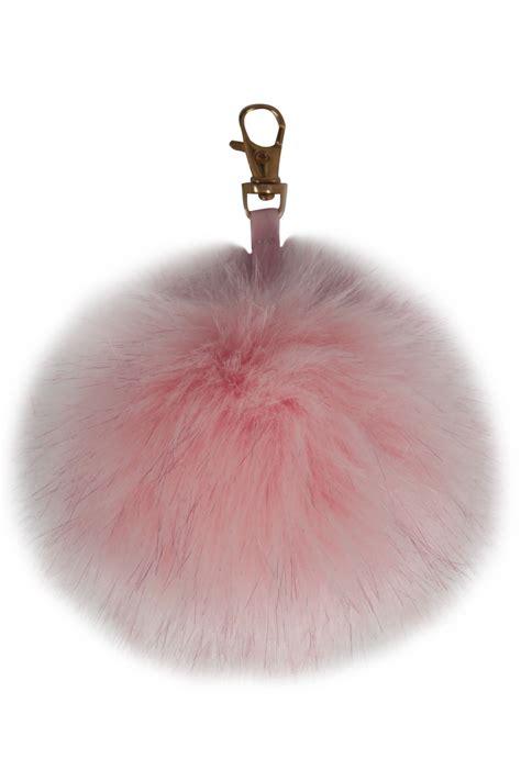 pink fluffy lights light pink fluffy pom pom keyring