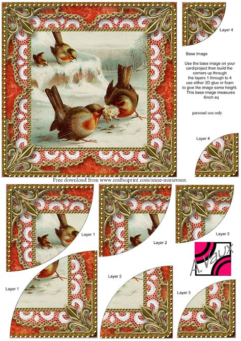 Free Printable 3d Decoupage Sheets - robin decoupage sheet kaarten