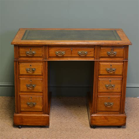 small pedestal desk quality small jas shoolbred co walnut antique