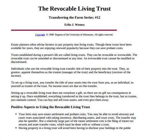 trust agreement template sle living trust form template 10 sles exles