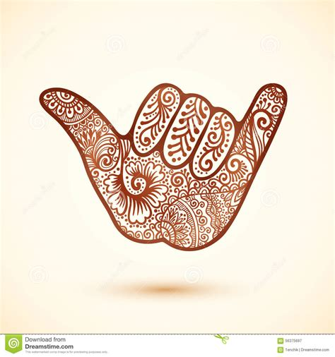 shaka surfers hand in indian henna tattoo style stock