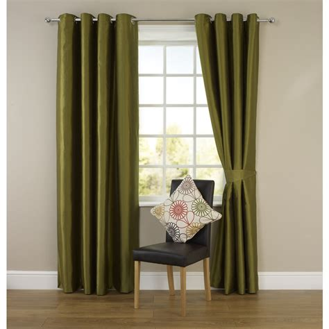 Wilko Faux Silk Eyelet Curtains Green 117 X 137cm At Wilko Com