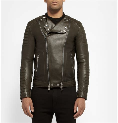 Rhythm S1408l Silver Combi Black Leather Original lyst balmain leather biker jacket in green for