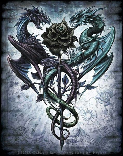 love this dragon n phoenix holding carpe diem banner