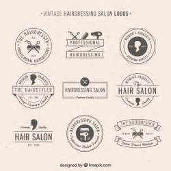 hairdressing salon logos in vintage style vector free