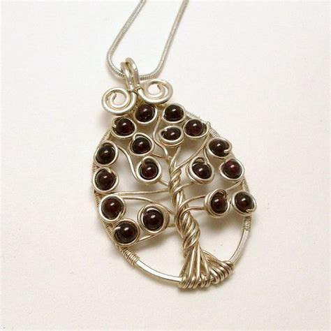 silver plated wire for jewelry garnet celtic tree of pendant necklace silver plated