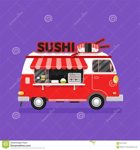 japanese food truck design sushi van stock vector image 87517847