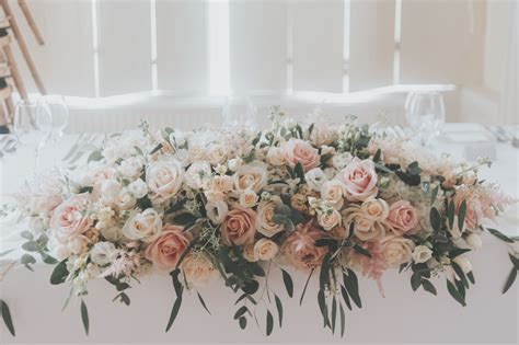 Blush pink top table flower display by Boutique Blooms