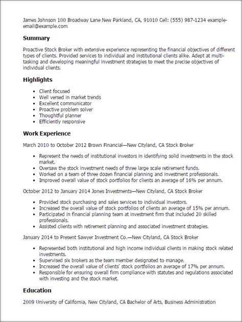 Stock Broker Cover Letter by Professional Stock Broker Templates To Showcase Your Talent Myperfectresume