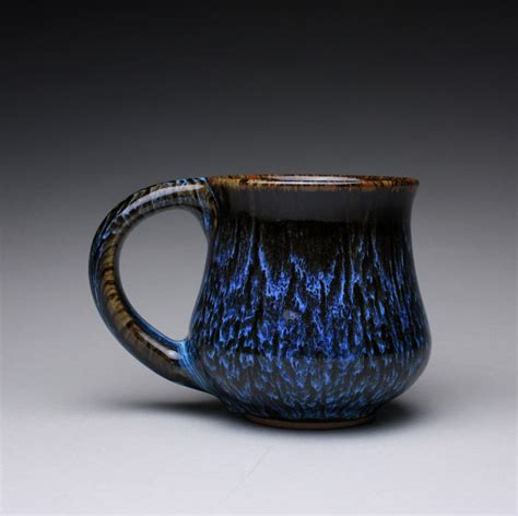 Ceramic Mugs Handmade - reserved handmade pottery mug teacup with black tenmoku and