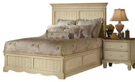traditional white bedroom furniture hillsdale wilshire 4 piece panel storage bedroom set in antique white traditional