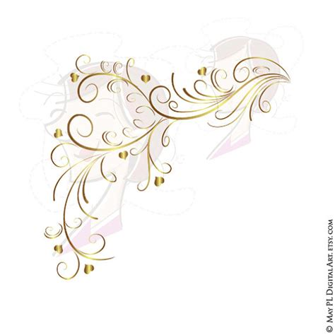 gold wedding border png gold retro swirl page border decoration curly
