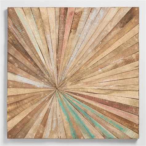 antiqued sunburst wood panel wall decor world market