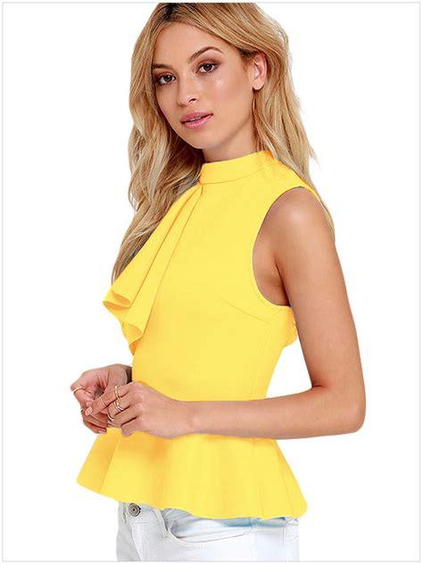 Blouse Brokat Pepplum 2 womens asymmetric ruffle side sleeveless peplum blouse top shirt